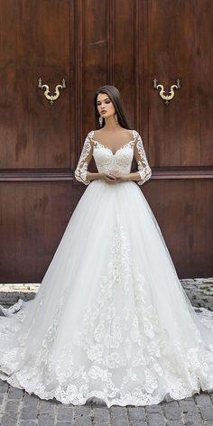 abiti da sposa in abito da ballo pollardi con maniche lunghe in pizzo  illusion Abito Da 9b3ba396bd6