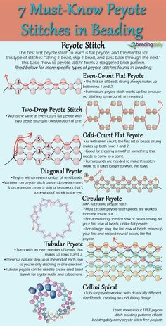 how to make peyote stitch the simple way with this FREE infographic that shows 7 must-know peyote beading stitches.Learn how to make peyote stitch the simple way with this FREE infographic that shows 7 must-know peyote beading stitches. Beading Patterns Free, Beaded Jewelry Patterns, Loom Patterns, Beading Ideas, Embroidery Patterns, Art Patterns, Peyote Beading Patterns, Peyote Stitch Patterns, Beading Supplies