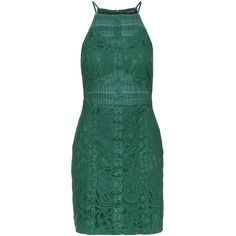 TOPSHOP Strappy Lace Bodycon Dress ($59) ❤ liked on Polyvore featuring dresses, bottle, bodycon dress, green cocktail dress, green dress, women dresses and fitted cocktail dresses
