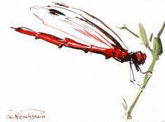 watercolor paintings of dragonflies | Red Dragonfly, Original watercolor painting, 6 X 8 in, dragonfly lover ...