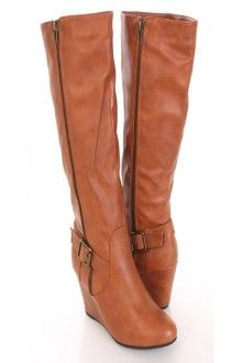 Cognac Faux Leather Ankle Strap Accent Leather Wedge Boots