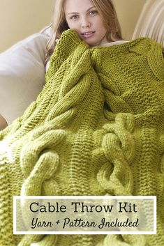 Cabled and comfy, you can't say no to this throw! The Cable Comfort Throw will be your preferred, cozy companion for cuddling up on a chilly night. Using the kit pattern and nine included skeins of Lion Brand Wool-Ease, you'll work up a wooly wonder with incredibly light weight and warmth that wows.
