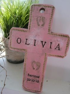 Baptismal cross for girl light pink by niftybynature on Etsy