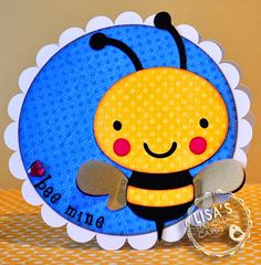 Bee mine Cricut card- birthday bash  create a critter   *LI