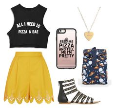 """""""PIZZA LOVE❤"""" by marie-westby on Polyvore featuring Temperley London, Seoul Little, Casetify and Vans"""