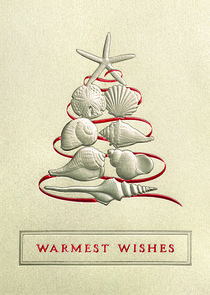 """SEASIDE CHRISTMAS  Send your customers and associates """"Warmest Wishes"""" with this shimmering gold greeting card featuring embossed seashells arranged like a Christmas tree. - See more at: http://greetingcardcollection.com/products/holiday-cards-holiday-greetings/296-seaside-christmas"""