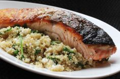 Skillet Salmon with Quinoa, Feta and Arugula