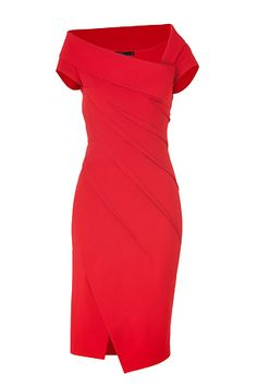 Lipstick Red Sculpted Cap Sleeve Dress by DONNA KARAN | the latest trends from the capitals of the world | STYLEBOP.com