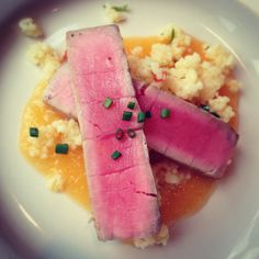 Taku Tuna and couscous with peach coulis