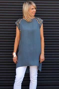 Everyday Embellishment #outfit #outfitidea #style #summer #shift #dress #embellishment #white #jean #denim #casual