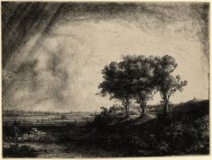 "Rembrandt van Rijn, ""Landscape with Three Trees"" etching with drypoint and engraving (image courtesy Princeton University Art Museum, Museum purchase, Fowler McCormick, Class of Fund and Laura P. Hall Memorial Fund in memory [. Rembrandt Etchings, Rembrandt Drawings, Rembrandt Art, Rembrandt Paintings, Städel Museum, Drawn Art, Dutch Painters, Art Plastique, Tree Art"