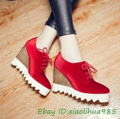 New Women Ladies Ankle Bow-Knot Strap Platform Pumps Round Toe Wedge Bride Shoes Best Sneakers, Casual Sneakers, High Heels, Shoes Heels, Pumps, Only Shoes, School Shoes, Sport Girl, Shoes Women
