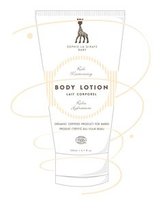 Sophie the Giraffe - Body Lotion. A gentle, moisturizing and nourishing body lotion made especially for baby's skin. All products are certified by French Ecocert. Sophie la Girafe Baby certified natural and organic skincare products DO NOT include harmful or questionable ingredients.