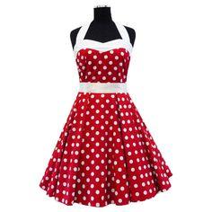 50's Red Polka Dot Rockabilly Dress Swing Evening Party Dress UK Sizes 10/12/14/16