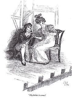 """My father is come!"" Mansfield Park illustration by Hugh Thomson. ""The Scene-Painter,"" a story by Diana Birchall for ""An Invitation to Mansfield Park."" http://sarahemsley.com/2014/08/22/the-scene-painter/ The scene-painter at Mansfield Park is mentioned only briefly, but Diana Birchall sees a story in microcosm: ""The scene-painter was gone, having spoilt only the floor of one room, ruined all the coachman's sponges, and made five of the under-servants idle and dissatisfied…."""
