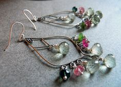 In bloom earrings  with green amethysts and tourmaline on Etsy, $120.00