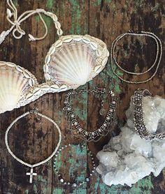 WEBSTA @ child_of_wild - ✧ B E A C H bae ✧ layering sea treasures around our necks for a weekend of mermaid-ing ✧ #childofwild #seashells #tgif
