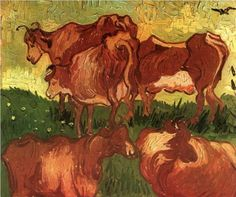 Cows - Vincent van Gogh,  1890, oil on canvas, Musee des Beaux-Arts, France. 21.7 x 25.6 in.