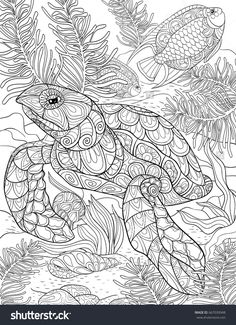 Adult coloring page,book a turtle.Line art style illustration.