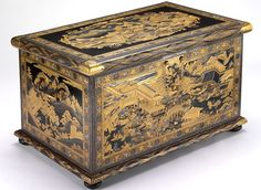 The Mazarin Chest. V&A Museum. Renowned as one of the finest pieces of Japanese export lacquer to have survived from the 17th Century. It is made of black-lacquered wood lavishly decorated with gold landscape scenes incorporating subject matter from the Tale of Genji and the Tale of the Soga Brothers.