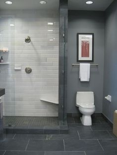 Dark Grey Floor Tiles U0026 Elongated White Tiles For Shower. Ideas On Bathroom  Tile Designs ...