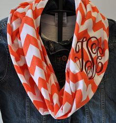 Virginia Tech Chevron Infinity Scarf in Soft Jersey Knit Monogram Bridesmaid Gift Virginia Tech Hokies Gameday scarf