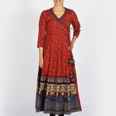Dark Red Printed Cotton Flared Angrakha