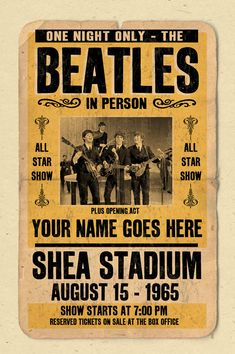 "Your Name on a Beatles concert poster 12""x18"" digital heavy poster - you are the opening act"