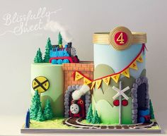 "711 Likes, 24 Comments - B L I S S F U L L Y S W E E T (@blissfullysweet) on Instagram: ""Thomas the Tank Engine Scene Birthday Cake by #blissfullysweet. Features all handmade details from…"""