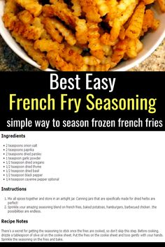 Easy Recipes with Few Ingredients – My Family's Favorite Easy Dinner Recipes – Clever DIY Ideas best easy french fry seasoning – simple way to season frozen french fries! Fast Easy Dinner, Easy Dinner Recipes, Easy Meals, Easy Recipes, Rib Recipes, Burger Recipes, Pizza Recipes, Dinner Ideas, Homemade Spices