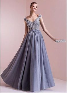 Elegant Tulle V-neck Neckline A-line Evening Dresses With Beadings