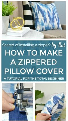 to Make a Zippered Pillow Cover (a tutorial for the total beginner) Easy sewing tutorial to make a zippered pillow cover that even a beginner can do!Easy sewing tutorial to make a zippered pillow cover that even a beginner can do! Easy Sewing Projects, Sewing Projects For Beginners, Sewing Hacks, Sewing Tutorials, Sewing Tips, Sewing Ideas, Diy Projects, Sewing Crafts, Tutorial Sewing