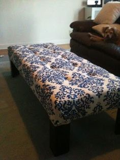 Design St: DIY coffee table bench, love this tutorial- just foam, quilting insert, fabric and a staple gun!