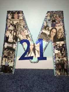 21st birthday wooden letter photo collage