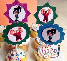 Wreck It Ralph Cupcake Toppers, Ralph el Demoledor, Vanellope- 12 Ready to Ship, $8.99