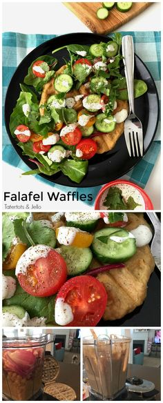 Savory Falafel Waffles are a aromatic and full-flavored dinner idea. Warm and savory waffles are surrounded by a cool salad and tangy yogurt dressing.