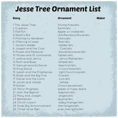 jesse tree ornament list