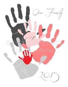 Personalized Family Portrait 5 Handprint Art Gift for Dad