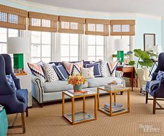 This classic hue is experiencing quite the renaissance, in shades ranging from sky to indigo to teal, and sometimes all in one space. Since it's timeless, you won't tire of it quickly and it plays well with other colors: coral, yellow, green. Need we say more?