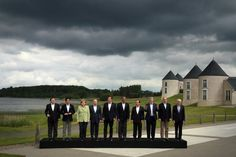 World's most powerful leaders pose under a dark, ominous storm cloud. We discussed economic cooperation and anti-terror policies and sacrificed a baby calf to the gods of capitalism and laughed maniacally. French President, David Cameron, User Experience Design, Travel Oklahoma, France, Group Photos, Extreme Weather, World Leaders, New York Travel