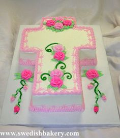 Cross Cake with Buttercream Frosting and Icing Details