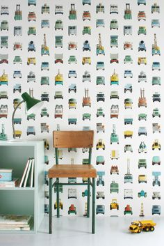 Studio Ditte Werkauto Behang Interieur inspiratie interieur trends muurdecoratie kinderkamer kids - Work vehicles wallpaper 02