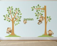Monkey Family Nursery Wall Decals Set with 2 by LullaberryDecals Kids Room Wall Decals, Animal Wall Decals, Nursery Wall Decals, Custom Vinyl Wall Decals, Removable Wall Decals, Tree Wall, Room Inspiration, Monkey, Wall Stickers For Nursery