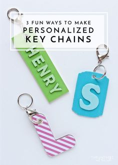 Check out these adorable personalized keychains and how to make them! All you need is wooden tags, different sized letters, and a thin piece of craft wood. Arts And Crafts For Teens, Craft Projects For Kids, Diy Arts And Crafts, Crafts To Sell, Fun Crafts, Project Ideas, Kindergarten Crafts, Preschool Crafts, Dollar Store Crafts