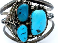 Gerald Mitchell Navajo Sterling Silver Cuff Bracelet Turquoise Vintage GM 1975
