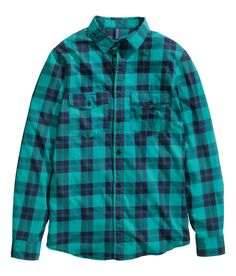 Give plaid a kick with this turquoise & black long-sleeve shirt in soft cotton.│ H&M Divided Guys