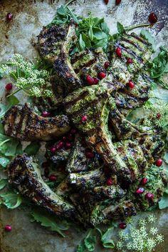 Fresh Herb Pesto Grilled  Lamb Chops