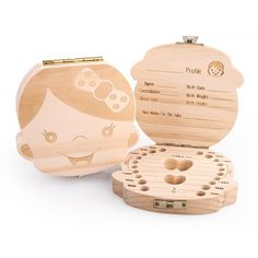 Wood Tooth Box Organizer Save Milk Teeth Wood Storage