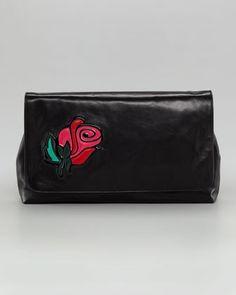 Rose Flap Clutch Bag by Prada