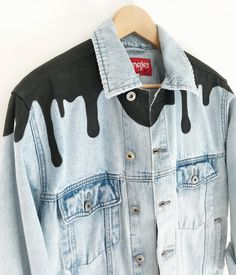 Ingfamous — Genderless Denim Source by harryblessed Customised Denim Jacket, Custom Denim Jackets, Painted Denim Jacket, Diy Clothing, Custom Clothes, Thrift Store Diy Clothes, New Outfits, Fashion Outfits, Denim Ideas